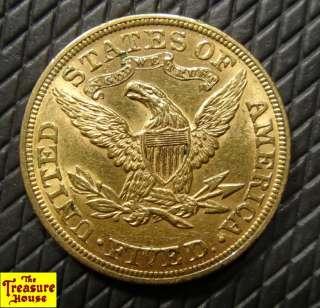 1893 P $5 Liberty Head FIVE D.Half Eagle Solid Gold Coin Rare Nice