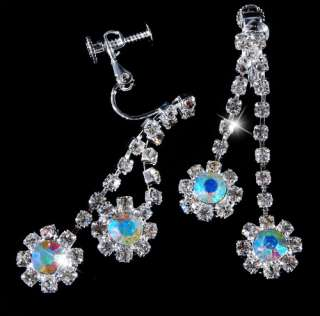 21977 Flower Bead Link AB Rhinestone Crystal Clear Necklace Earring