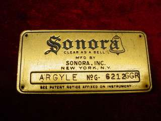 Vintage NAME TAG Plate SONORA HAND CRANK PHONOGRAPH PART Victrola
