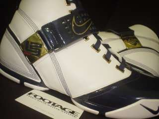 2007 Nike Zoom LEBRON JAMES V 5 WHITE MIDNIGHT NAVY BLUE METALLIC GOLD