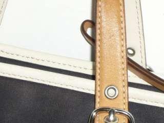 COACH Auth Navy Blue White Canvas & Tan Leather Shopper Tote Handbag
