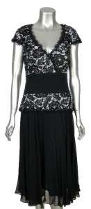 Collection Womens Black White Beaded Lace V Neck Cap Sleeve Dress 12