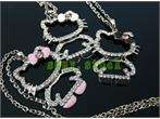 4pcs beautiful crystal Folding hello kitty necklace C39