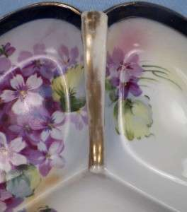 Lovely VIOLET FLOWERS 3 PART CANDY DISH Porcelain HAND PAINTED NIPPON