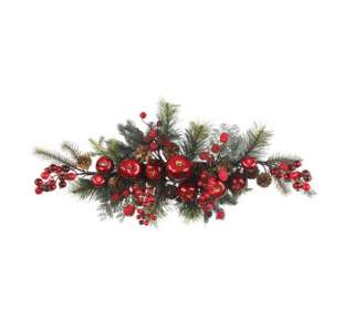 NEARLY NATURAL 30 Apple Berry Swag Silk Flower Wreath Holiday Decor