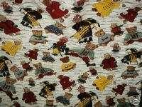 Winter Teddy Bear ski sled skate cotton craft fabric 2y