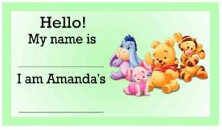 20 WINNIE THE POOH BABY SHOWER NAME TAGS