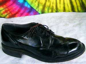 size 7.5 EE mens vtg black shiny oxfords dress shoes