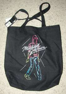 NEW MICHAEL JACKSON NEON BEAT IT BLACK COTTON BAG