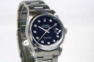 No Holes Steel Rolex Datejust Black Diamond Dial w/ Papers ~ 16200