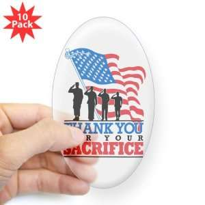 Sticker Clear (Oval) (10 Pack) US Military Army Navy Air Force Marine