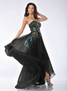 LONG STRAPLESS GOWN PEACOCK FEATHERS FORMAL PROM DRESS BLACK TIE EVENT