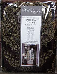 Croscill TRAVIATA Floral Plum Lined Pole Top Drapery Panels