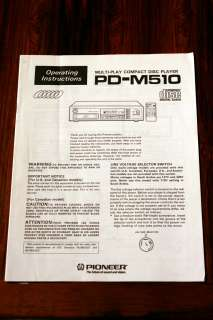 Pioneer PD M510 CD Player Owners Manual *Original*