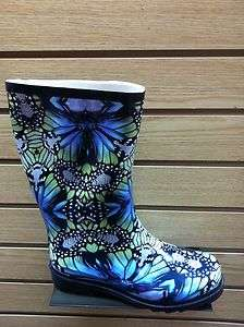 Women Navy&Green Rain Boots Size 5,6,7,8,9 New In Bag