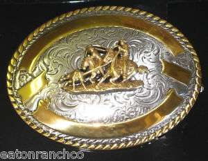 New Crumrine Belt Buckle Silver Gold Team Roper Roping