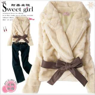 Jacket Korea Rabbit Hair Lady Warm Coat Belted Grey L