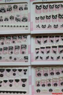 10 PACKS GOTHIC BLACK LACE NAIL ART STICKERS DECALS $
