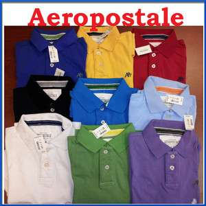 NWT MIXED WHOLESALE RESALE LOT AEROPOSTALE MENS SOLID COLOR POLO SHIRT