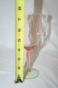 VINTAGE TALL PINK AND GREEN DIAMOND OPTIC WATERMELON GLASS GOBLET EX