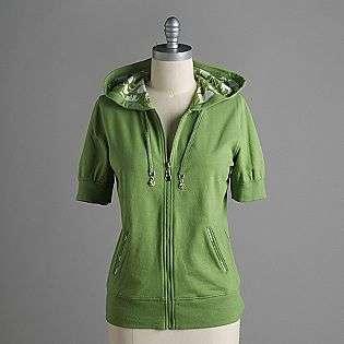 Short Sleeve Hooded Sweatshirt Jacket Silverwear Clothing Womens