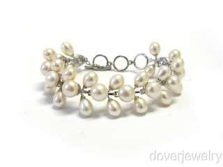 Estate Sterling Silver Pearl Wide Bracelet NR