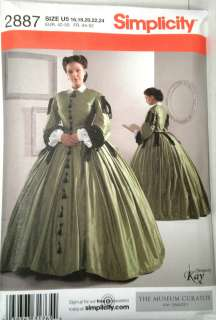 SIMPLICITY Pattern 2887 Womens 1800s Costume Dress NEW FACTORY FOLD