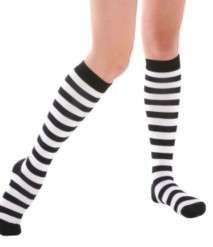 BLACK & WHITE STRIPED KNEE HIGHS GOTH PUNK EMO LOLITA