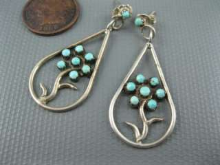 Old Zuni Sterling Sleeping Beauty Turquoise Flower Earrings