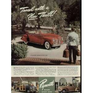 Travel with a New Thrill  1941 Plymouth Sportsman Convertible Ad