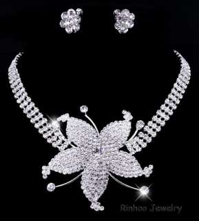 1Set rhinestone Flower wedding party jewelry set 18kgp
