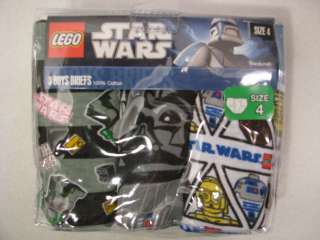 Lego Star Wars Mini Figures 3 Pack Underwear Briefs Size 4
