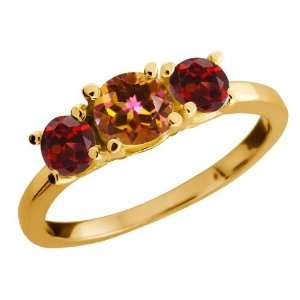 1.34 Ct Round Ecstasy Mystic Topaz and Red Garnet 14k