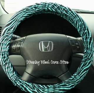Car Steering Wheel Cover Teal Aqua Zebra Print NEW