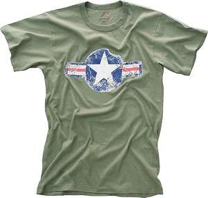 Olive Drab Military Tee VINTAGE AIR FORCE STAR T SHIRT