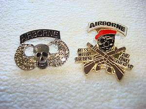 Special Forces AIRBORNE Team SKULL, Set Of 2 Vietnam War Lapel Pins