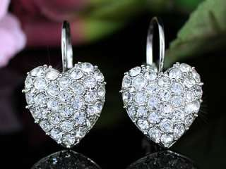 White Gold Pla Heart Earrings w Swarovski Crystal SE106