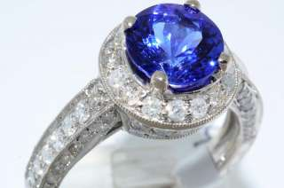 7000 3.67CT ROUND CUT AAA TANZANITE & DIAMOND RING SIZE 7.25