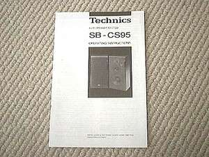 Technics SB CS95 speaker owners manual
