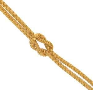 Yellow Gold Tone Mesh Knot 2 Strand Choker Necklace Dog Collar