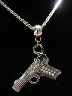 PISTOL GUN SEMI AUTOMATIC GLOCK POLICE BOX CHAIN NECKLACE CHARM