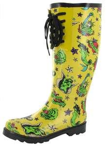 BETSEY JOHNSON Baxterr Tattoo Sailor Jerry Womens Rain Boot Wellie