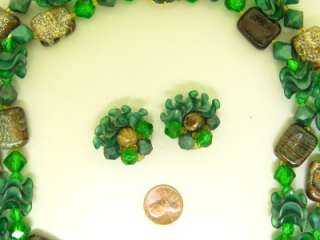 Germany Molded Green Bead Demi Set Vintage Necklace Earrings