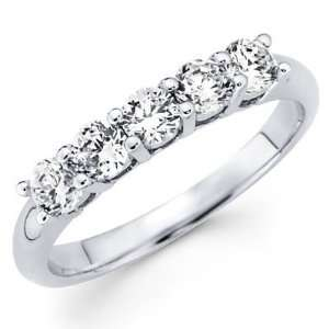 Classic 5 Diamond Prong Wedding Band in 14K White Gold Jewelry