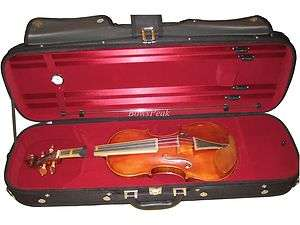 Oblong Full Size 4/4 Violin Case, Wooden with 4 Bow Holders and