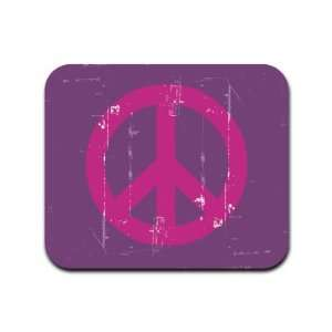 Distressed Peace Sign Symbol Purple Mousepad Mouse Pad