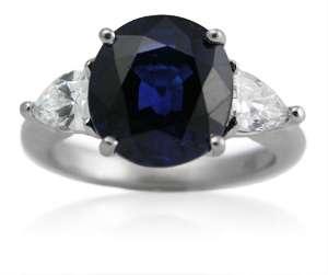 18K WHITE GOLD DIAMOND CEYLON SAPPHIRE RING
