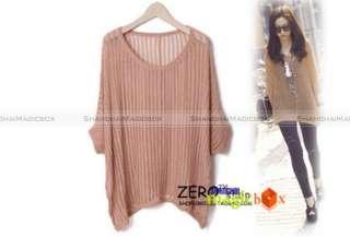 Women Fashion Vintage Loose Batwing Knitwear Shirt Top New 4 Colors