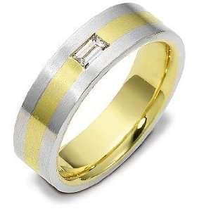 Platinum 1 Diamond and 18 Karat Gold Comfort Fit Wedding Band Ring   5