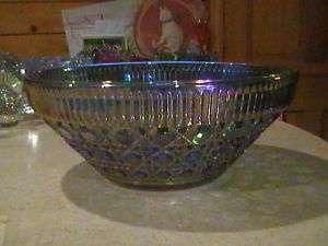 Indiana Glass Windsor Carnival Blue Serving Bowl 10 1/2